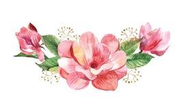 Mazzo floreale con la magnolia dell'acquerello Immagine Stock Libera da Diritti