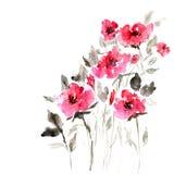 Mazzo floreale dell'acquerello Scheda di compleanno Fotografia Stock Libera da Diritti