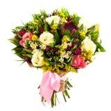 Mazzo fresco e fertile dei fiori variopinti, isolato su fondo bianco fotografie stock libere da diritti