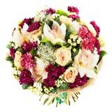 Mazzo fresco e fertile dei fiori variopinti, isolato su fondo bianco immagine stock libera da diritti