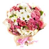 Mazzo fresco e fertile dei fiori variopinti, isolato su fondo bianco fotografia stock