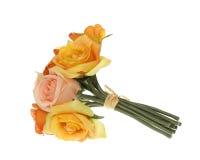 Mazzo giallo, dentellare ed arancione della Rosa dei fiori Fotografia Stock Libera da Diritti