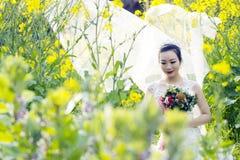 Mazzo nuziale della tenuta della sposa con il vestito da sposa bianco nel giacimento di fiore della violenza Fotografie Stock