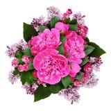 Mazzo rosa dei fiori della peonia, del cratego e del lillà Fotografia Stock Libera da Diritti