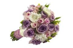 Mazzo rosa di nozze isolato su bianco Immagine Stock Libera da Diritti