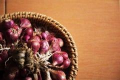 Mazzo rosso dell'aglio e della cipolla porpora Fotografie Stock