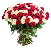 Mazzo rosso della rosa di bianco 101 isolato su fondo bianco Immagine Stock Libera da Diritti
