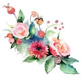 Mazzo variopinto Fiore botanico floreale Wildflower selvatico della foglia della molla isolato illustrazione di stock