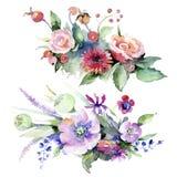 Mazzo variopinto Fiore botanico floreale Wildflower selvatico della foglia della molla isolato Immagini Stock
