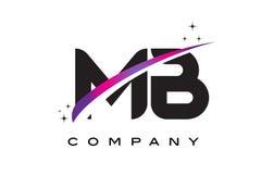 MB M B Black Letter Logo Design avec le bruissement magenta pourpre Photos stock