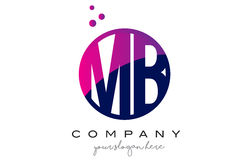 MB M B Circle Letter Logo Design avec Dots Bubbles pourpre Photo stock