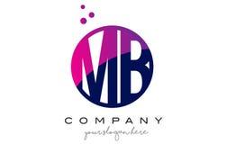 MB M B Circle Letter Logo Design mit purpurrotem Dots Bubbles lizenzfreie abbildung