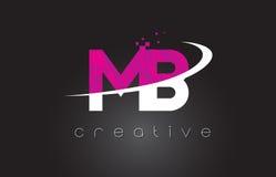 MB M B Creative Letters Design avec les couleurs roses blanches illustration libre de droits