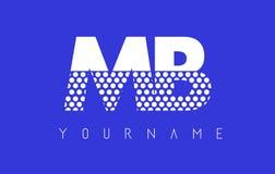 MB M B Dotted Letter Logo Design con el fondo azul Imagenes de archivo
