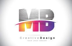 MB M B Letter Logo Design With Creative Lines et Swosh dans Purpl Photo stock