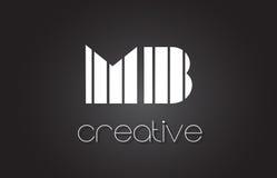 MB M B Letter Logo Design With White et lignes noires Photographie stock libre de droits