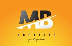 MB M B Letter Modern Logo Design avec le fond jaune et le Swoo illustration de vecteur