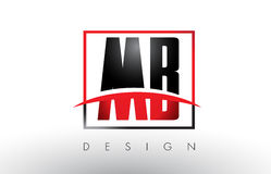 MB M B Logo Letters avec des couleurs et le bruissement rouges et noirs illustration stock