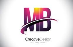 MB M B Purple Letter Logo avec la conception de bruissement Magenta créatif M Image stock