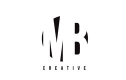MB M B White Letter Logo Design con el fondo del círculo Fotos de archivo