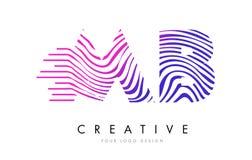 MB M B Zebra Lines Letter Logo Design avec des couleurs magenta Photos libres de droits