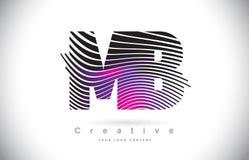 MB M B Zebra Texture Letter Logo Design With Creative Lines et Image stock