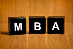 MBA ή κύριος του κειμένου επιχειρησιακής διοίκησης στο φραγμό Στοκ Εικόνες