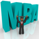 Mba - Letters and Business Man. The letters M B A and a business man in graduation cap Stock Photos