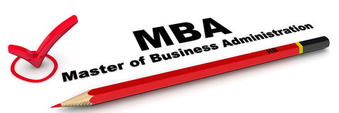 MBA. Master of Business Administration. The check mark Stock Image