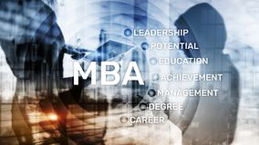 MBA - Master of business administration, e-learning, education and personal development concept. MBA - Master of business administration, e-learning, education stock image
