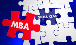 MBA Master Business Administration Puzzle Piece Fill Skill Gap 3. D Illustration Royalty Free Stock Photo