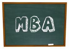 MBA Masters Business Administration College Degree Chalk Board. MBA abbreviation for masters of business administration written or drawn on a chalkboard to Royalty Free Stock Photos