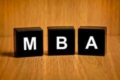MBA o texto de master en administración de empresas en bloque foto de archivo