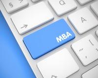 MBA - Text på blått tangentbordtangentbord 3d Arkivbilder