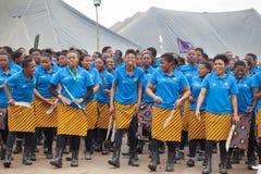 Mbabane, Swasiland, Zeremonie Umhlanga Reed Dance, j?hrlicher traditioneller nationaler Ritus, einer von acht Tagesfeier lizenzfreie stockbilder