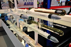 MBDA Exocet missiles at Singapore Airshow. Taken on 03 Feb 2010 Royalty Free Stock Images