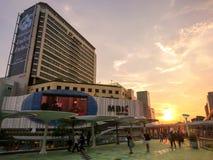MBK是一个大商城在曼谷,黄昏的泰国 免版税库存图片