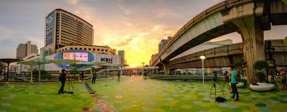 MBK是一个大商城在曼谷,黄昏的泰国 图库摄影