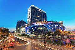 Bangkok Thailand. BANGKOK,THAILAND - DECEMBER 21: MBK center the most famous shopping mall in Bangkok decorate the building for welcome to Christmas and New Year Stock Images
