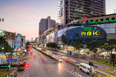 MBK. Shopping mall at twilight, one of the most famous shopping center in Thailand. It's located on the center of Bangkok commercial area. This picture show Stock Photos