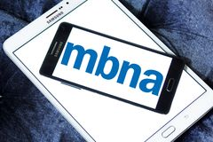 MBNA Corporation logo. Logo of MBNA Corporation on samsung mobile. MBNA Corporation is a bank holding company and parent company of wholly owned subsidiary MBNA Royalty Free Stock Photo