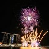 MBS dei fuochi d'artificio di NDP 2017 Fotografia Stock