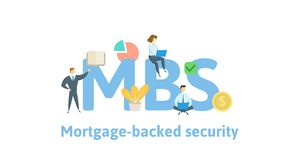 MBS, Mortgage Backed Security. Concept with keywords, letters and icons. Flat vector illustration. Isolated on white vector illustration