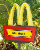 Mc Auto Sign. A MacDonalds Drive Through sign located in Spain Royalty Free Stock Photo