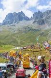 Mc Cain Caravan in Alps - Tour de France 2015 Royalty Free Stock Photography