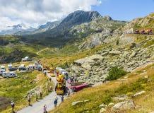Mc Cain Caravan en las montañas - Tour de France 2015 Imagenes de archivo