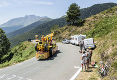 Mc Cain Caravan in Pyrenees Mountains - Tour de France 2015. Col D'Aspin,France- July 15,2015: Mc Cain Caravan during the passing of the Publicity Caravan on the royalty free stock image