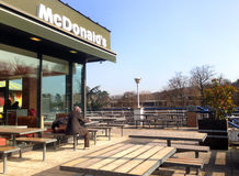 Mc Donald restaurant terrace Stock Photography