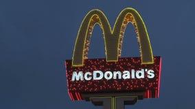 Mc donald's sign, Las Vegas at night stock video footage