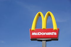 Mc Donald Sign. In clear blue sky Stock Images